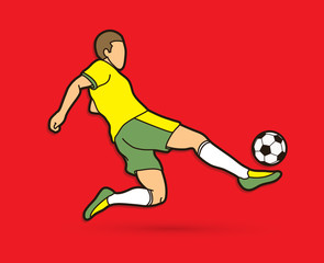 Soccer player somersault kick , overhead kick action graphic vector