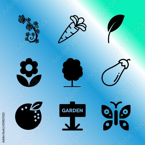 Vector Icon Set About Gardening With 9 Icons Related To Wallpaper Bright Pattern