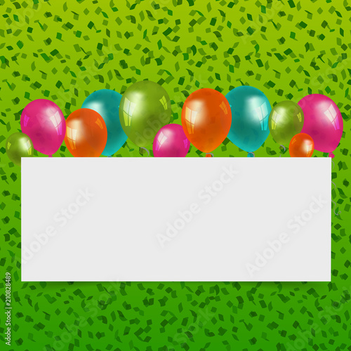 Happy Birthday Or Party Card With Balloons And Empty Space Stock
