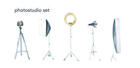 Watercolor hand drawn sketch illustration photoshoot set with camera, tripod and studio lighting isolated on white