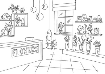 Flower shop interior graphic black white sketch illustration vector