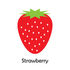 Strawberry in cartoon style, card with fruit for kid, preschool activity for children, vector illustration