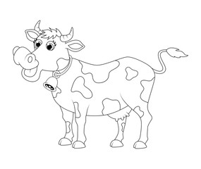 cartoon cute cow outline  design isolated on white background