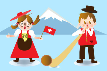 A cute Boy and Girl Switzerland national dress.Cartoon Character for animation , separate layer ,joint and or Main organs.