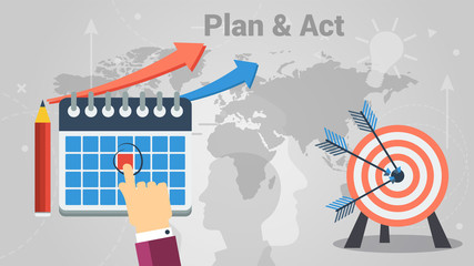 Vector of business planning and acting