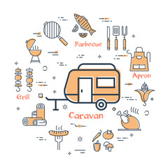 Simple icons of camping food making