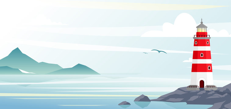 Lighthouse with ocean or sea beach view on background in flat style.