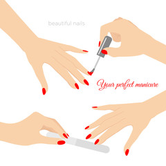 Vector illustration of manicure concept, nail health. Care of hands and nails. Nail Design, nail polish and manicure tools with place for text in flat style.