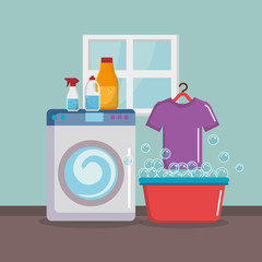 wash machine with laundry service icons vector illustration design