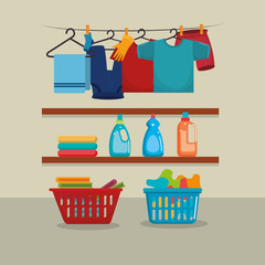 clothes with laundry service icons vector illustration design