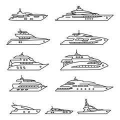 Ships and boats set, Yacht thin line icon set. Vector outline icons.
