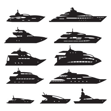 Ships and boats set, Yacht icon set. Vector.
