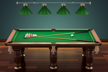 Billiard table with balls and cue in room, 3D rendering