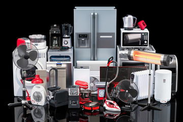 Kitchen and household appliances on black background. 3D rendering
