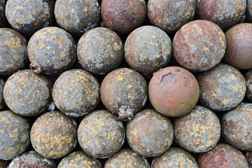 Cannonballs on the Haiti fort, stack of cannonballs