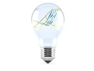 Deck chair inside light bulb