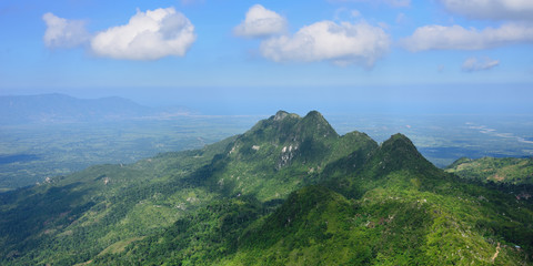 Landscape on the green mountain range over Haiti