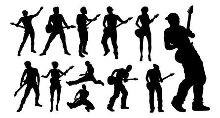 Silhouette Guitarist Musicians Set