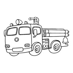 Fire Truck cartoon illustration isolated on white background for children color book