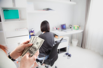 Woman hands counting money US dollars banknotes Happy bonus at office. Independent Business, finance freedom, banking and prosperity