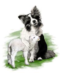 Diipinto di un cane, Border Collie, che abbraccia un amorevole agnello, su sfondo bianco