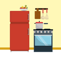 kitchen modern scene icons vector illustration design
