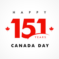 151 years anniversary, Happy Canada Day banner. Canada Day, national holiday with vector text and red maple leaf. Celebrating Canadian anniversary of independence of 1867 years