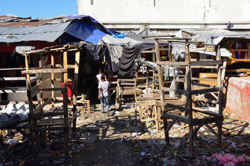 Slum in the capital city Haiti, in the vicinity of the Iron Market.