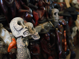 Figurines voodoo on Iron Market in the centre of capital city Haiti.