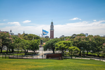 Torre Monumental or Torre de los Ingleses (Tower of the English) and General San Martin Plaza in Retiro - Buenos Aires, Argentina