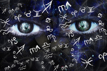 Astrological background, zodiac signs