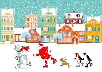 Weihnachtsmann mit eisbär, pinguin und hase, beim schlittschuhlaufen, Illustration