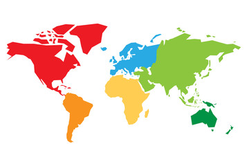 Wall Mural - World map divided into six continents. Each continent in different color. Simple flat vector illustration.