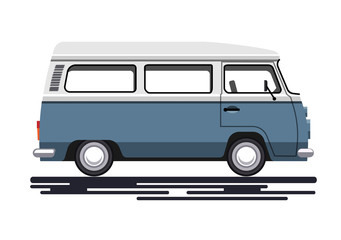 Retro van in a flat style. Isolated on white background. Vector illustration Eps10 file