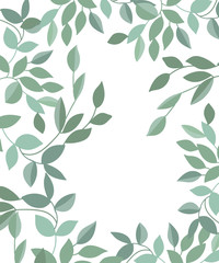 Vector poster with branches and leaves. Isolated hand drawn illustration on white background