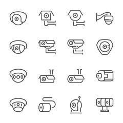 CCTV and IP camera icon set, 64x64 perfect pixel and editable stroke.