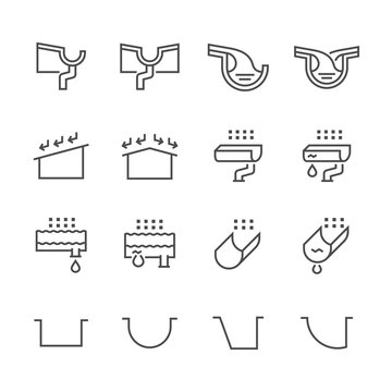 Gutter and water drainage icon set, editable stroke.