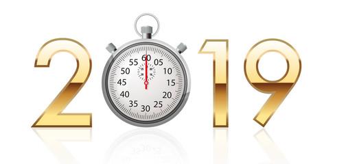 2019 - chrono - compte à rebours - sport - performance - objectif - carte de vœux