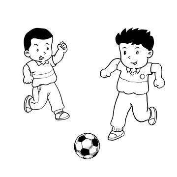 Boys playing Soccer -Vector Illustration