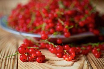 Red juicy currant lies on a wooden table and in plate.