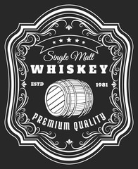 Whiskey barrel label. Old style rustic beverage sticker with frame pattern, antique blackboard whisky oak keg tag vector illustration