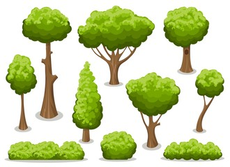 Cartoon bush and tree set. Vector trees and bushes isolated on white background, nature green forest plants for hedge or cute landscape