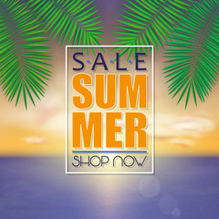 Summer sale banner, poster template with palm leaves and jungle leaf on sunset beach background.