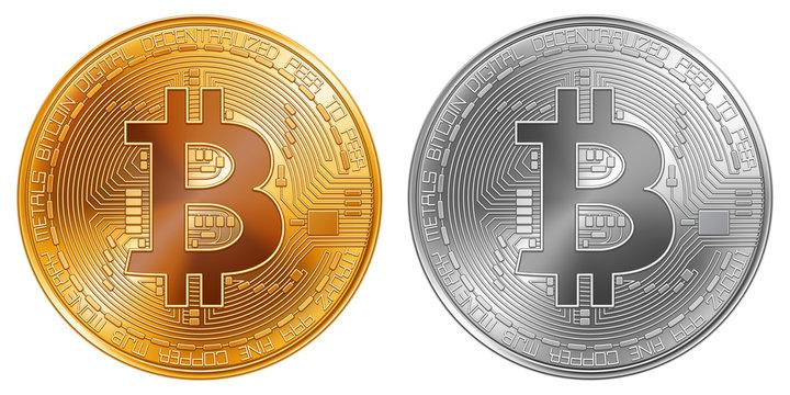 Golden and Silver Bitcoin Coins