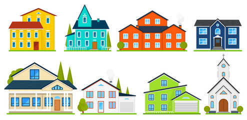 Little cute house or apartments. Family american townhouse. Neighborhood with cozy homes. Traditional Modern cottage for infographics or application interface. Building vector illustration. Flat style