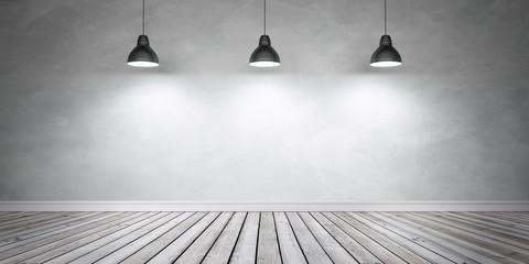 Betonwand und Holzboden mit 3 Lampen