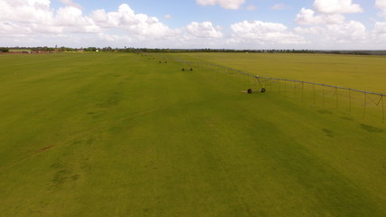 Agricultural irrigation system on sunny summer day. An aerial view of a center pivot sprinkler system.