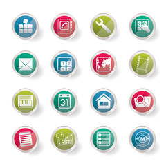Mobile Phone and Computer icon over colored background  - Vector Icon Set