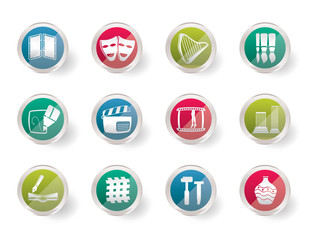 different kind of Arts Icons over colored background  - Vector Icon Set