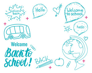 Back to school wide banner. Vector hand draw set elements on isolated on white background.